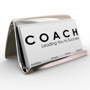 Coach word and Leading you to Success on a business card to advertise or promote your services as a leader, motivator, trainer, mentor or instructor for a team of athletes or business people
